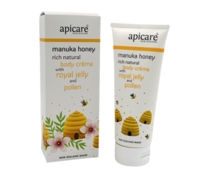 Apicare Mānuka Honey Body Crème with Royal Jelly and Pollen 200g